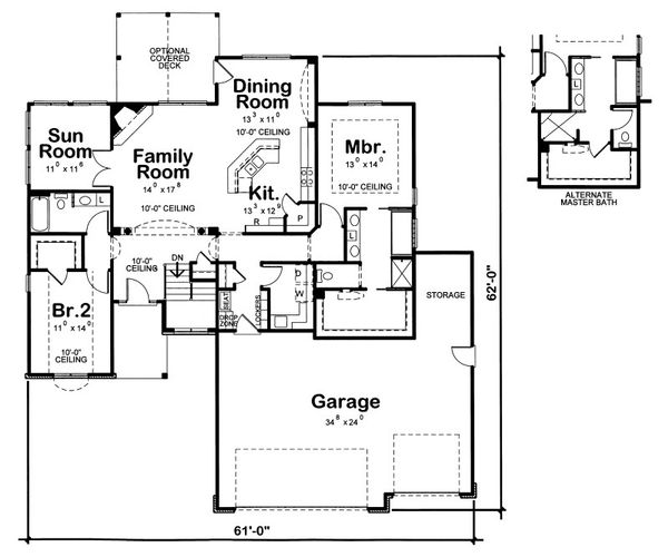 Ranch Floor Plan - Main Floor Plan Plan #20-2086
