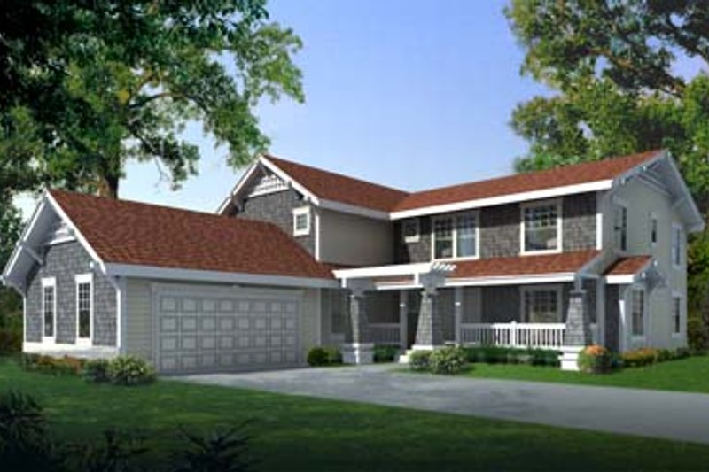 Craftsman Style House Plan - 4 Beds 3.5 Baths 3269 Sq/Ft Plan #100-204 Exterior - Front Elevation