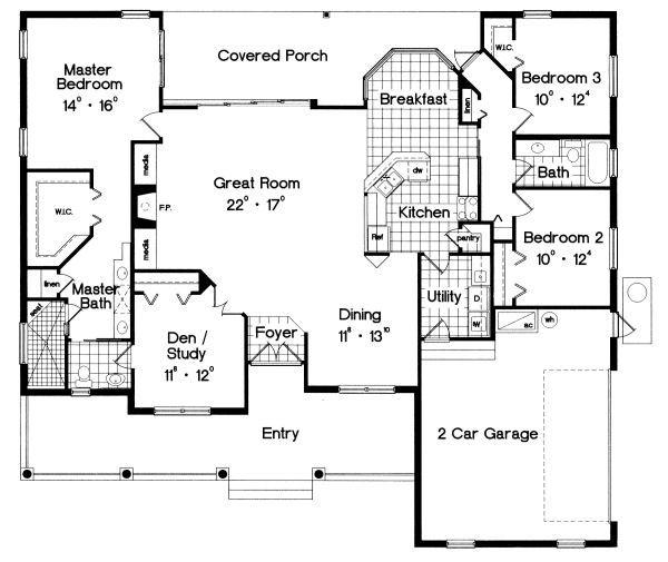 Ranch Floor Plan - Main Floor Plan Plan #417-188