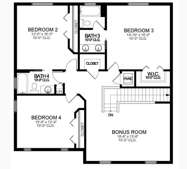 House Blueprint - Traditional Floor Plan - Upper Floor Plan #1058-206