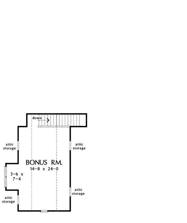 Craftsman Style House Plan - 3 Beds 2 Baths 2046 Sq/Ft Plan #929-6 Floor Plan - Upper Floor Plan