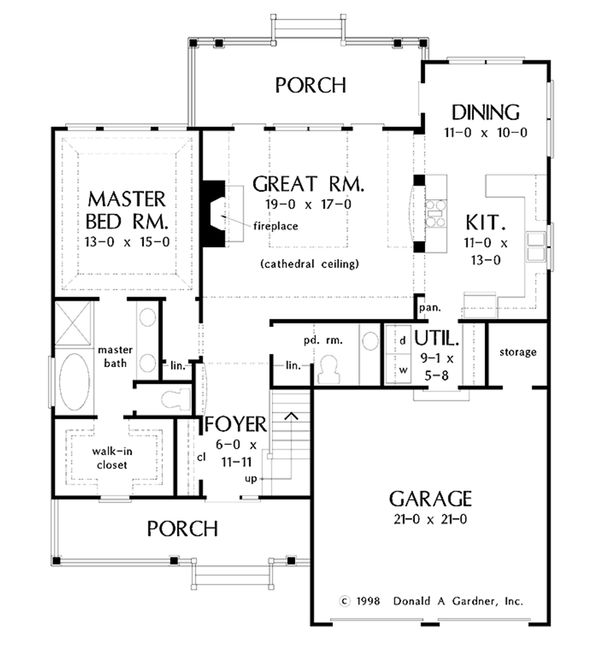 Country Floor Plan - Main Floor Plan Plan #929-52