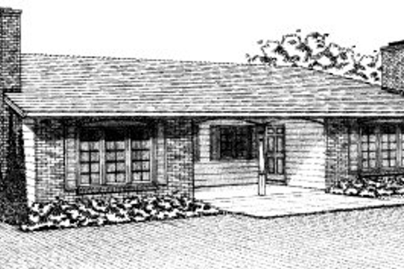 Ranch Style House Plan - 3 Beds 2 Baths 2184 Sq/Ft Plan #303-302 Exterior - Front Elevation