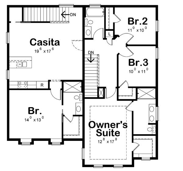 Craftsman Floor Plan - Upper Floor Plan Plan #20-2326