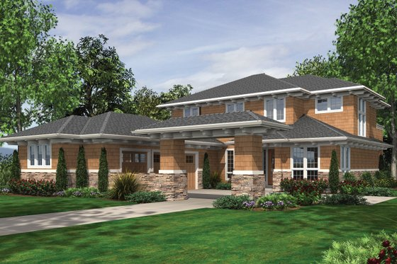 Architectural House Design - Prairie Exterior - Front Elevation Plan #48-623