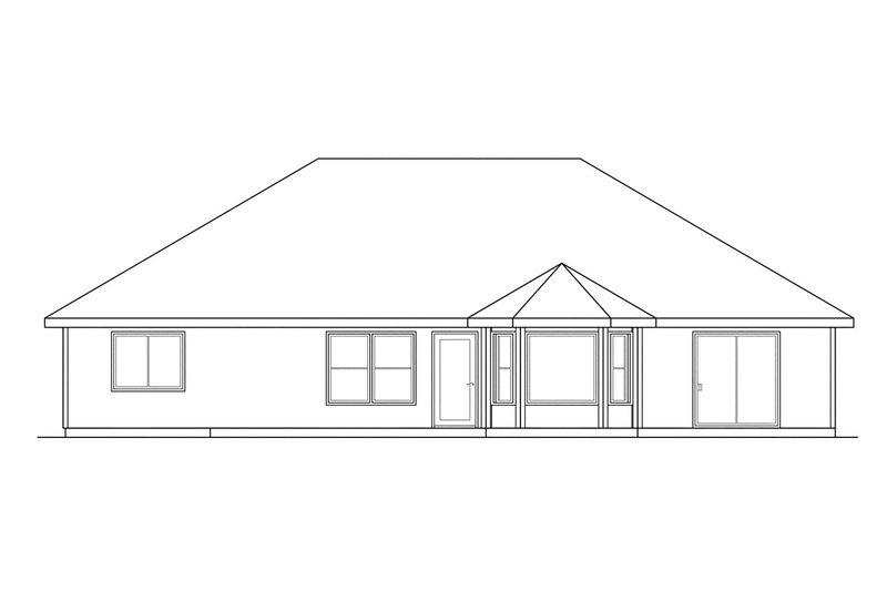 Ranch Exterior - Rear Elevation Plan #124-295 - Houseplans.com