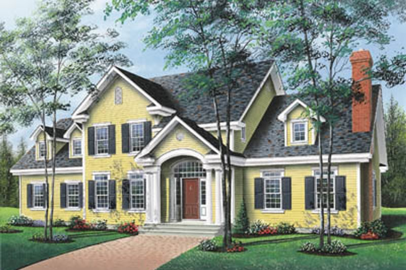 Traditional Style House Plan - 4 Beds 3.5 Baths 3501 Sq/Ft Plan #23-237 Exterior - Front Elevation