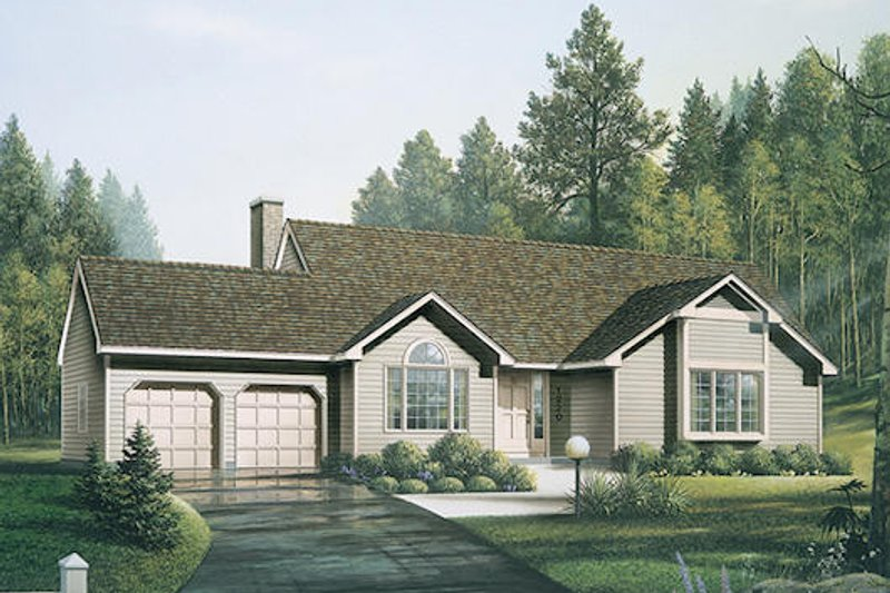 Traditional Style House Plan - 3 Beds 2 Baths 1540 Sq/Ft Plan #57-200 Exterior - Front Elevation