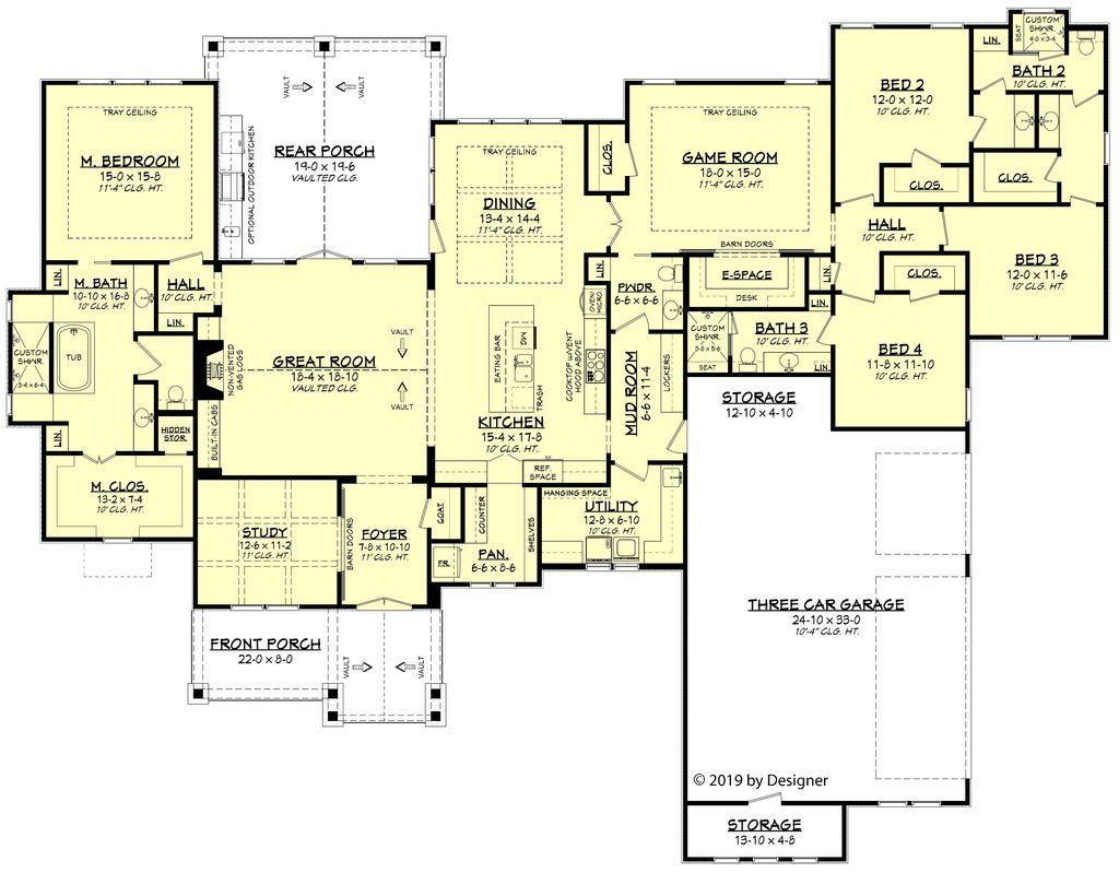 Ranch Style House Plan 4 Beds 3 5 Baths 3366 Sq Ft Plan 430 190 Houseplans Com