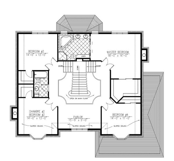 European Floor Plan - Upper Floor Plan Plan #138-333