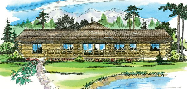Log Exterior - Front Elevation Plan #124-140