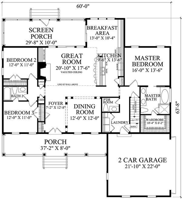 Country Floor Plan - Main Floor Plan #137-374