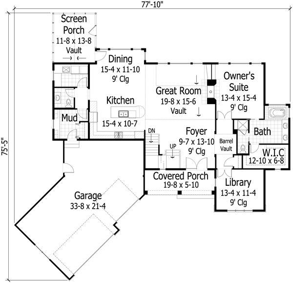 Traditional Floor Plan - Main Floor Plan Plan #51-436