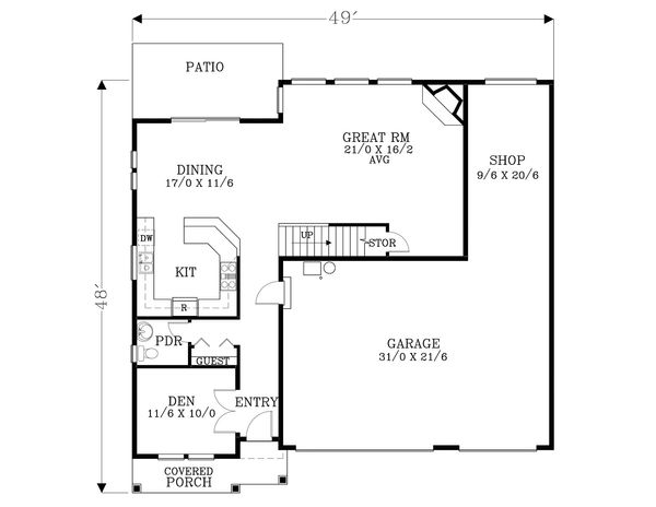 Craftsman Floor Plan - Main Floor Plan Plan #53-590