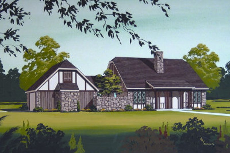 European Exterior - Front Elevation Plan #45-319