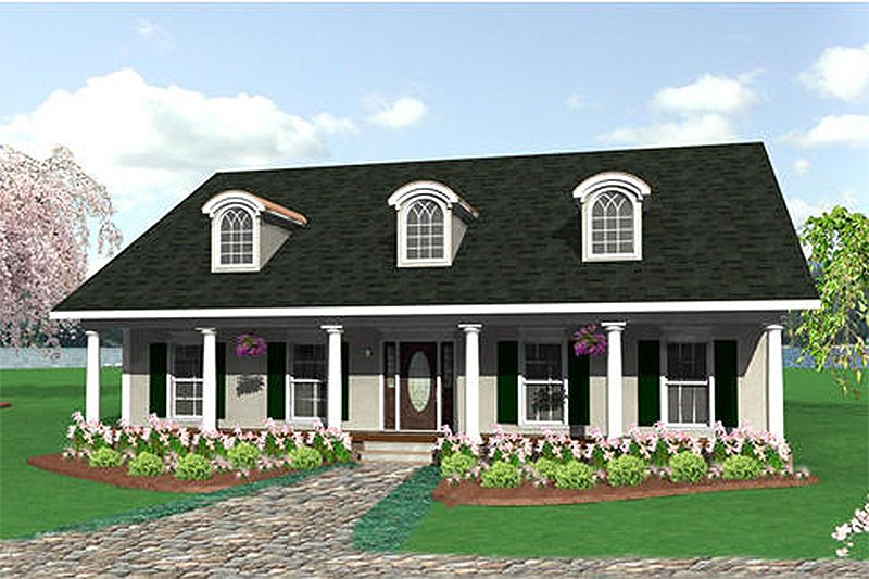 House Plan Design - Front view - 2050 square foot country home