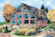 Cabin Style House Plan - 3 Beds 2 Baths 1654 Sq/Ft Plan #18-4504 Exterior - Front Elevation