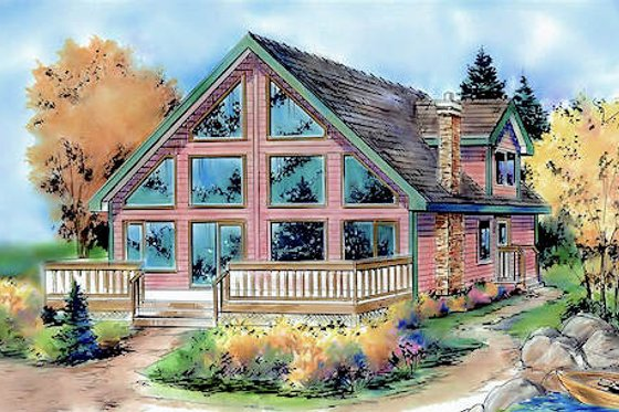 Cabin Exterior - Front Elevation Plan #18-4504