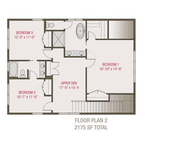 Craftsman Floor Plan - Upper Floor Plan Plan #461-68