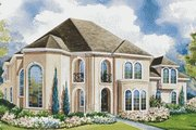 European Style House Plan - 4 Beds 3.5 Baths 3774 Sq/Ft Plan #20-1165 Exterior - Front Elevation
