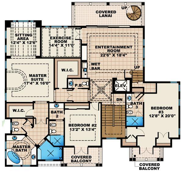 Mediterranean Floor Plan - Main Floor Plan Plan #27-451