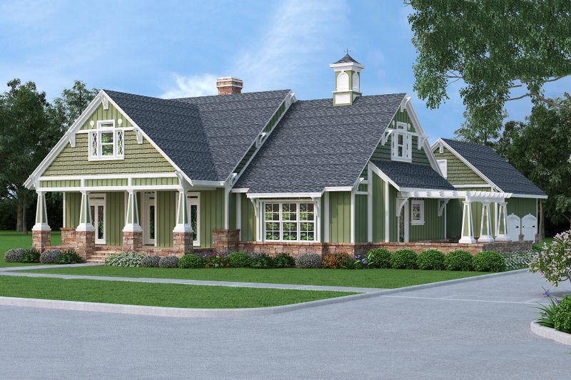 Craftsman Style House Plan - 3 Beds 2 Baths 1976 Sq/Ft Plan #45-377 Exterior - Front Elevation