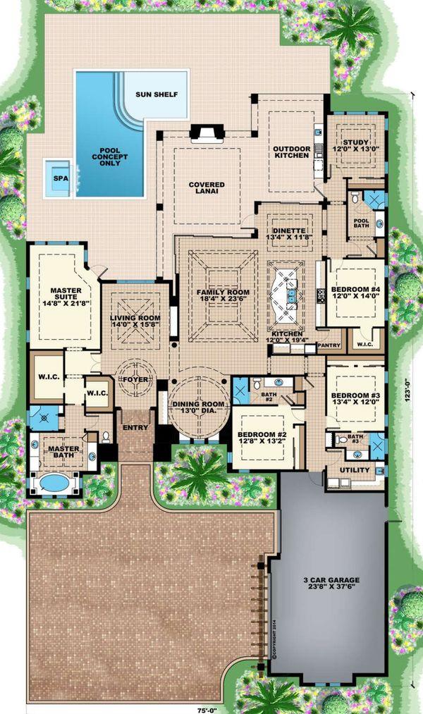 Mediterranean Floor Plan - Main Floor Plan Plan #27-553