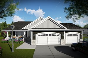 Architectural House Design - Ranch Exterior - Front Elevation Plan #70-1484