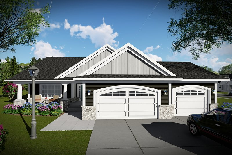 Ranch Exterior - Front Elevation Plan #70-1484