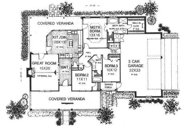 Country Floor Plan - Main Floor Plan Plan #310-604