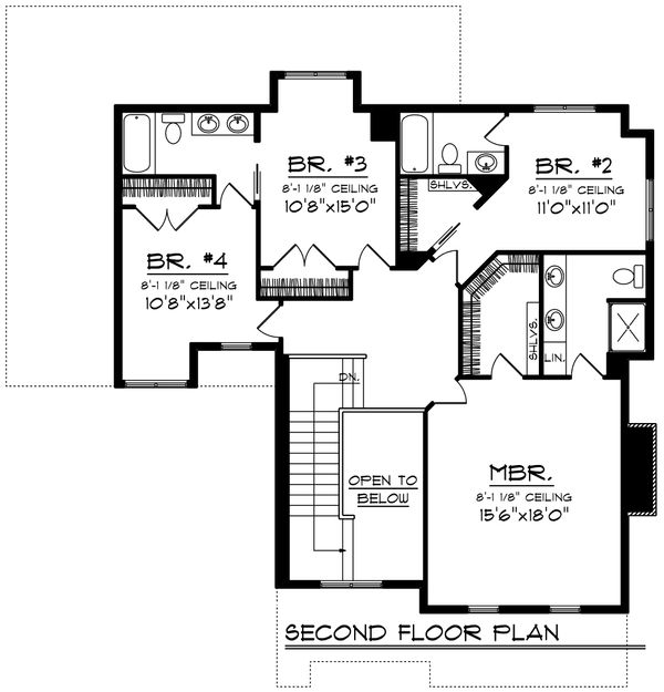 Traditional Floor Plan - Upper Floor Plan Plan #70-1199