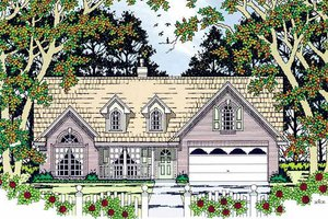 Cottage Exterior - Front Elevation Plan #42-398