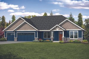 Ranch Exterior - Front Elevation Plan #124-1124