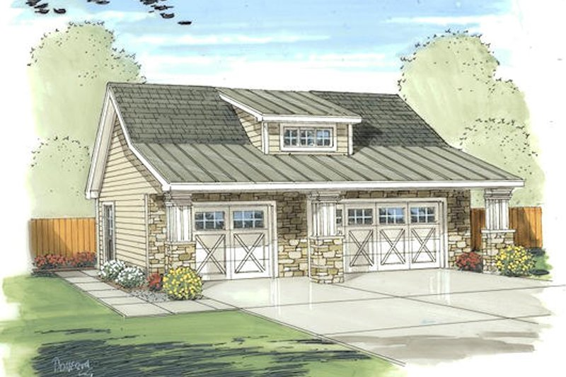 Bungalow Style House Plan - 0 Beds 0 Baths 805 Sq/Ft Plan #455-73 Exterior - Front Elevation