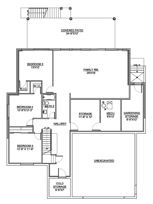 Modern Floor Plan - Lower Floor Plan Plan #1073-8