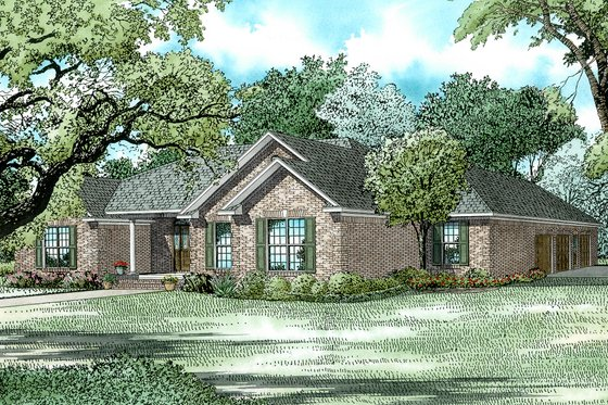 Ranch Exterior - Front Elevation Plan #17-174