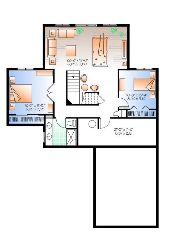Cottage Floor Plan - Lower Floor Plan Plan #23-2318
