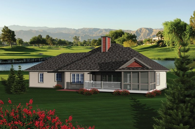 Traditional Exterior - Rear Elevation Plan #70-1084 - Houseplans.com