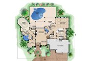 Mediterranean Style House Plan - 4 Beds 5 Baths 6922 Sq/Ft Plan #27-539 Floor Plan - Main Floor Plan