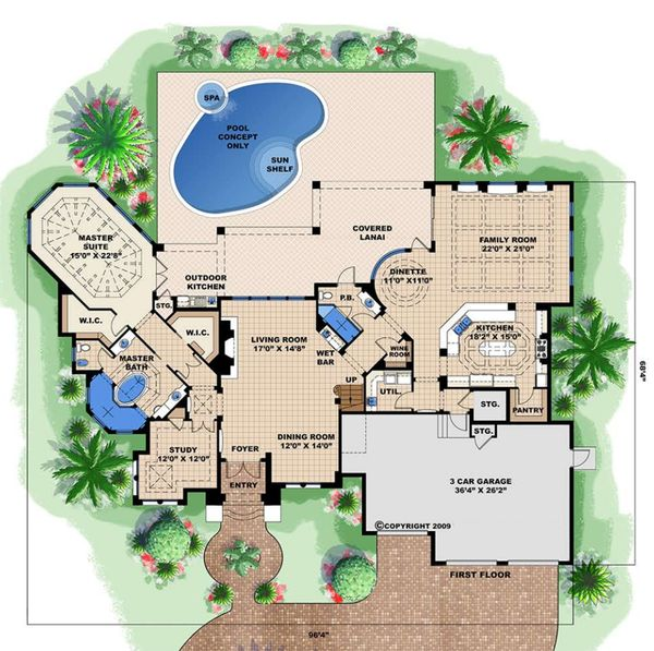 Mediterranean Floor Plan - Main Floor Plan Plan #27-539