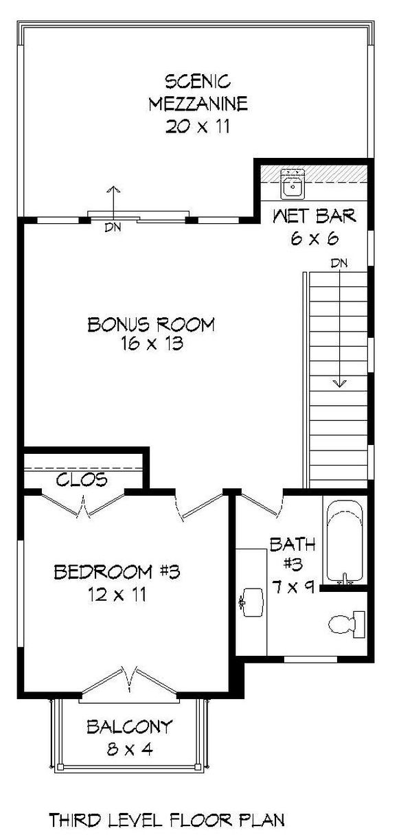 Contemporary Floor Plan - Upper Floor Plan #932-243