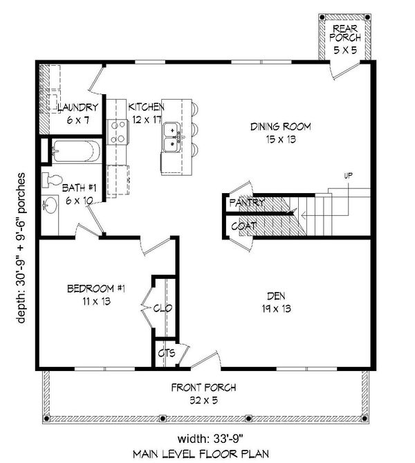 Traditional Floor Plan - Main Floor Plan Plan #932-164
