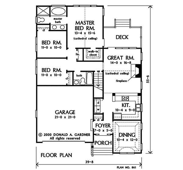 Ranch Floor Plan - Main Floor Plan #929-1097