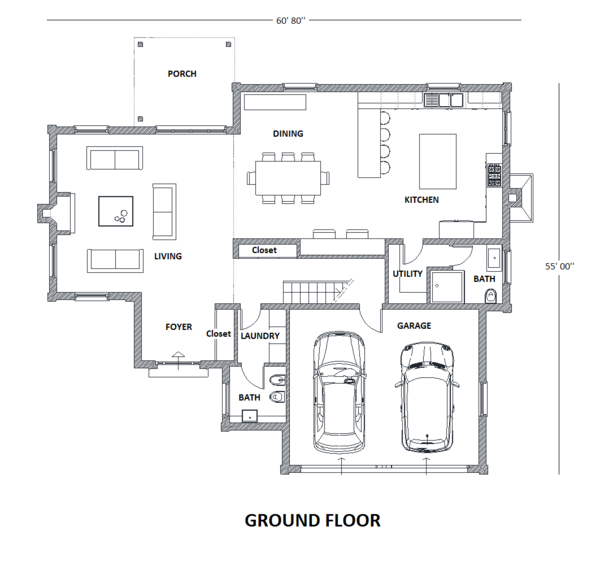 European Floor Plan - Main Floor Plan Plan #542-15
