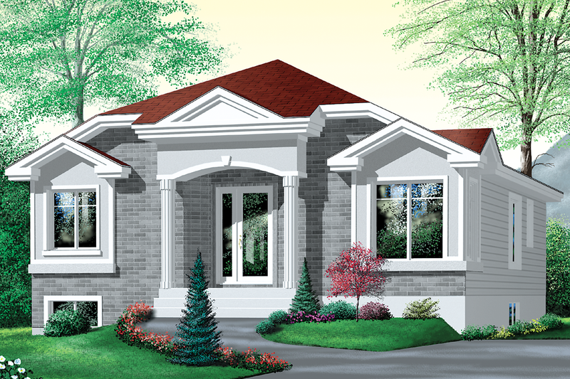 European Style House Plan - 3 Beds 1 Baths 1110 Sq/Ft Plan #25-1080 Exterior - Front Elevation