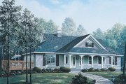Farmhouse Style House Plan - 3 Beds 2 Baths 1621 Sq/Ft Plan #57-324 Exterior - Front Elevation