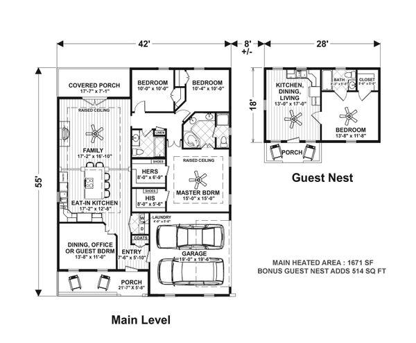 Craftsman Floor Plan - Main Floor Plan Plan #56-705