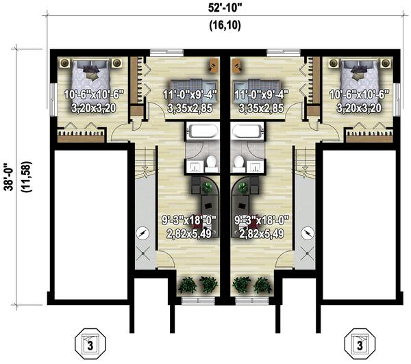 Contemporary Floor Plan - Lower Floor Plan Plan #25-4611