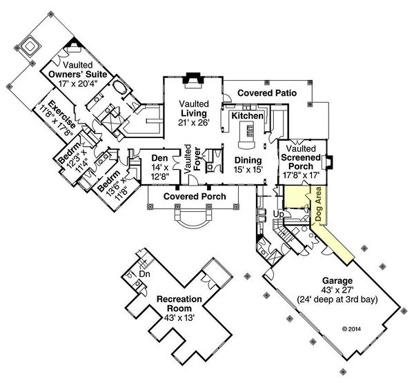 Country Floor Plan - Main Floor Plan Plan #124-967