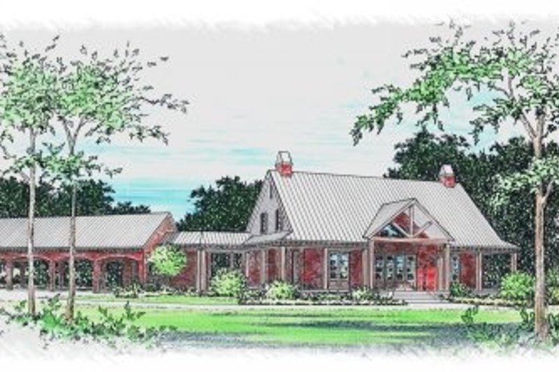 Southern Style House Plan - 5 Beds 3.5 Baths 3494 Sq/Ft Plan #15-259 Exterior - Front Elevation